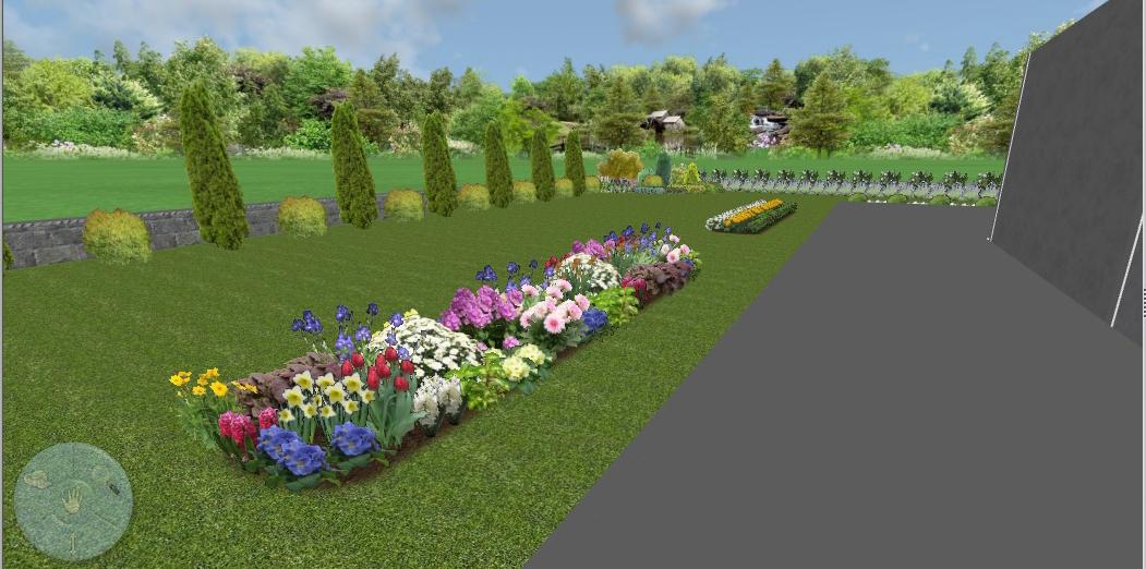 3D проект, цветна леха - частен двор